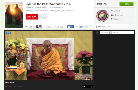 Lama Zopa Rinpoche while teaching at Light of the Path Retreat as seen via webcast