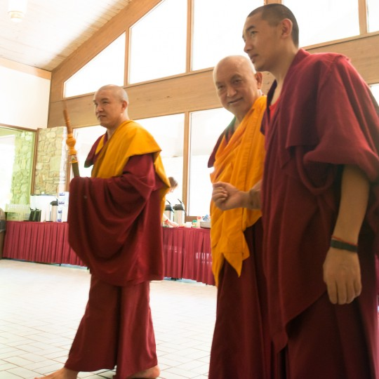 Lama Zopa Rinpoche at Light of the Path, Black Mountain, North Carolina, US, May 2014. Photo by Roy Harvey.