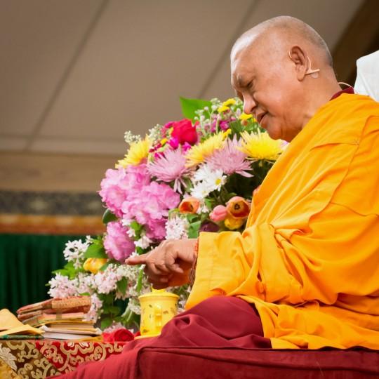 Lama Zopa Rinpoche at Light of the Path, Black Mountain, North Carolina, US, May 2014. Photo by Roy Harvey.