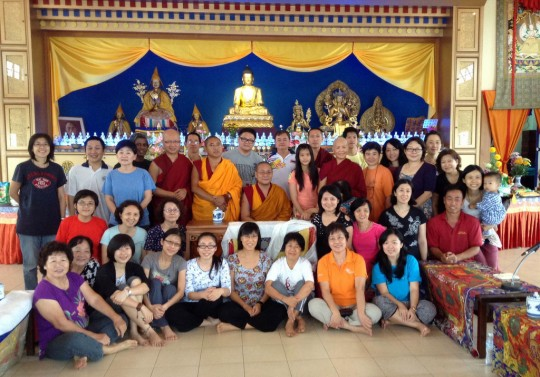 Participants at the first annual Sanghata Sutra retreat, Rinchen Jangsem Ling, Triang, Malaysia, March 2014. Photo courtesy of Rinchen Jangsem Ling.