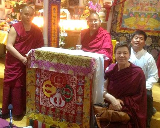 His Eminence Ling Rinpoche with Ven. Elisabeth Drukier seated to his left, Centre Kalachakra, Paris, France, April 7, 2014. Photo courtesy of Centre Kalachakra.