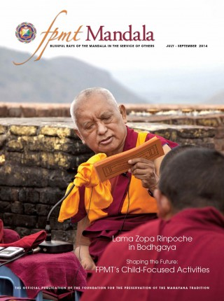 COVER: Lama Zopa Rinpoche giving the oral transmission of the Vajra Cutter Sutra on Vulture's Peak, Rajgir, India, March 2014. Photo by Andy Melnic.