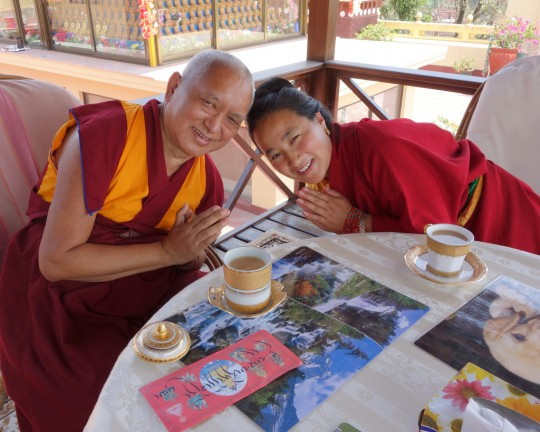 Lama Zopa Rinpoche and Khadro-la having tea after long life puja at Kopan Monastery, April 29, 2013. Photo by Ven. Roger Kunsang.
