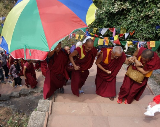 Lama Zopa Rinpoche walking up to Vulture's Peak, India, March 2014. Photo by Ven. Roger Kunsang.