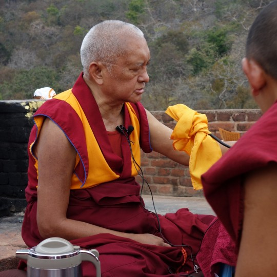 Lama Zopa Rinpoche on Vulture's Peak, Rajgir, India, March 2014. Photo by Ven. Roger Kunsang.