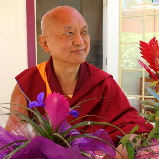 Lama Zopa Rinpoche at Kachoe Dechen Ling, California, June 2014. Photo by Ven. Roger Kunsang.