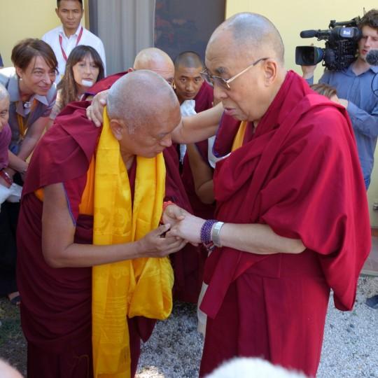 His Holiness the Dalai Lama with Lama Zopa Rinpoche at Istituto Lama Tzong Khapa, June 10, 2014. Photo by Ven. Roger Kunsang.