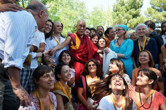 His Holiness the Dalai Lama with event volunteers at Istituto Lama Tzong Khapa, Pomaia, Italy, June 2014. Photo by Olivier Adam.