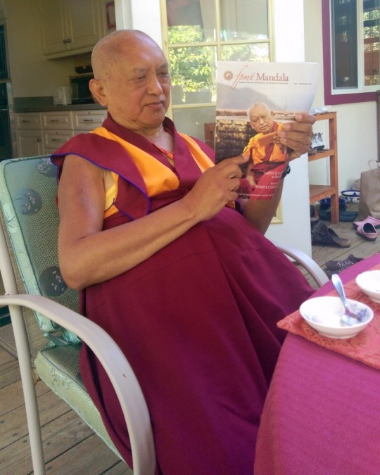 Lama Zopa Rinpoche reading Mandala, Kachoe Dechen Ling, California, US, June 2014. Photo by Ven. Roger Kunsang.