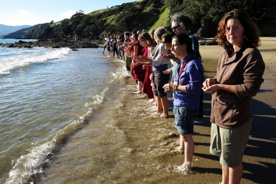 Making offerings to the beings in the ocean with Khadro-la, New Zealand, May 2014. Photos by Christian Bale.