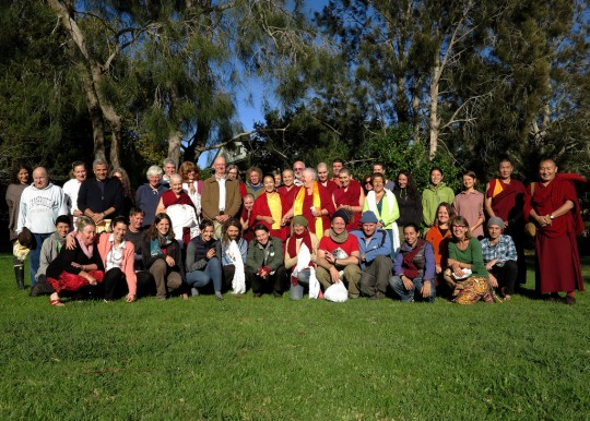 Khadro-la with retreat participants,  Mahamudra Centre, New Zealand, May 2014. Photo by Christian Bale.