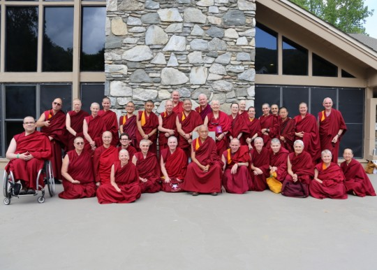Lama Zopa Rinpoche with Sangha at Light of the Path, Black Mountain, North Carolina, US, May 2014