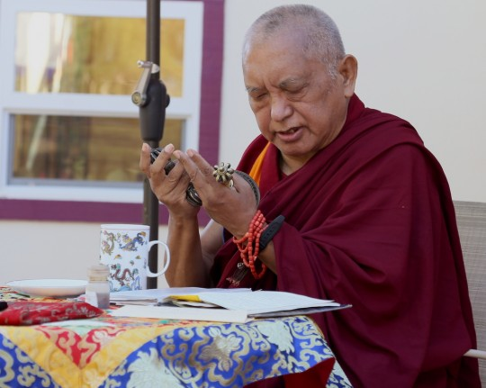 Lama Zopa Rinpoche doing an incense puja at Kachoe Dechen Ling, California, US, May 2014. Photo by Ven. Thubten Kunsang.