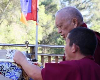 Lama Zopa Rinpoche doing incense puja at Kachoe Dechen Ling, California, US, June 2014. Photo by Ven. Thubten Kunsang.