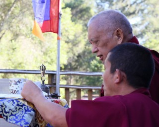 Lama Zopa Rinpoche doing incense puja at Kachoe Dechen Ling, California, US, June 2014. Photo by Ven. Thubten Kunsang.
