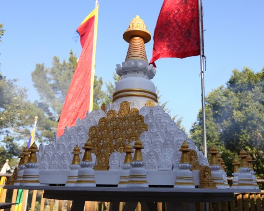 A stupa surrounded by tsa-tsas at Kachoe Dechen Ling, California, June 2014. Photo by Ven. Thubten Kunsang.