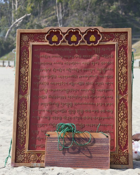 Namgyälma mantra boards for ocean blessings, California, US, 2014. Photo by Ven. Thubten Kunsang.