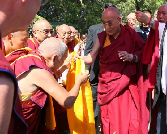 Lama Zopa Rinpoche offering His Holiness the Dalai Lama a khata, Istituto Lama Tzong Khapa, Pomaia, Italy, June 10, 2014