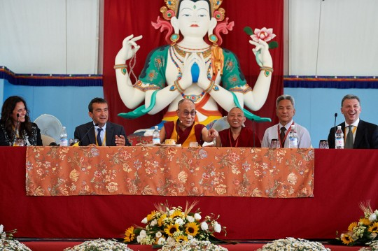 Press conference with His Holiness the Dalai Lama, Istituto Lama Tzong Khapa, June 12, 2014. Photo by Olivier Adam.