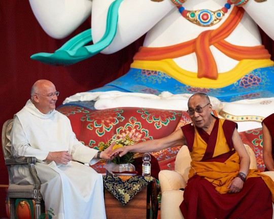 His Holiness the Dalai Lama with Father Laurence Freeman, Istituto Lama Tzong Khapa, Pomaia, Italy, June 13, 2014. Photo by Olivier Adam.