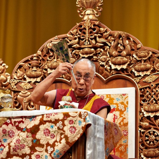 His Holiness the Dalai Lama during the Chenrezig empowerment, Livorno, Italy, June 15, 2014. Photo by Olivier Adam.