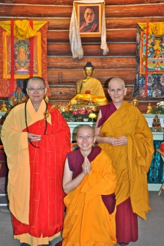 Ven. Thubten Damcho (center) with Vens. Minjia and Ven. Thubten Chodron after her ordination ceremony, October 2013. Photo http://www.sravastiabbey.org/