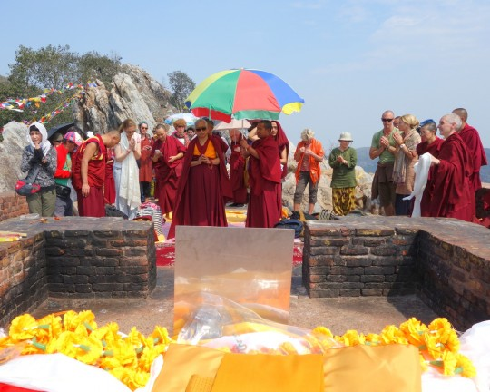 Lama Zopa Rinpoche on Vulture's Peak, India, March 2014. Photo by Ven. Roger Kunsang.