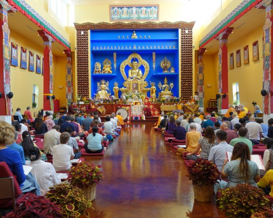 Long life puja for Geshe Sopa Rinpoche at Deer Park Buddhist Center in Oregon, Wisconsin, US, July 20, 2014. Photo by Ven. Roger Kunsang.