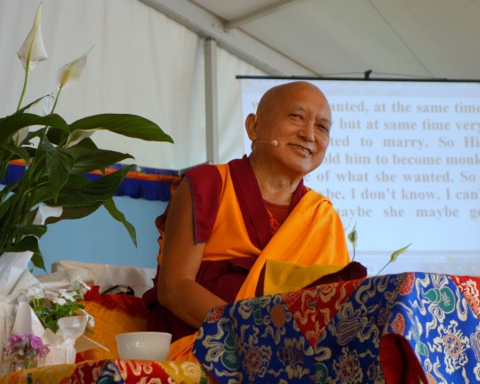 Lama Zopa Rinpoche teachings at Istituto Lama Tzong Khapa, Pomaia, Italy, June 2014. Photo by Ven. Roger Kunsang.