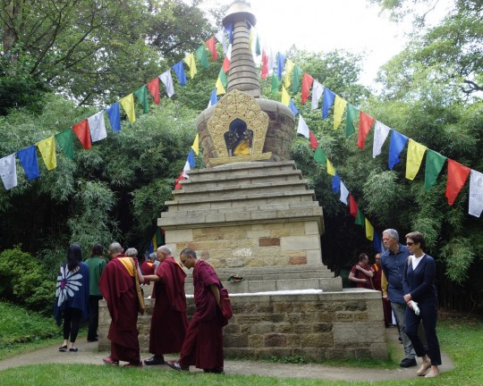 Lama Zopa Rinpoche circumambulating the stupa at Harewood House Gardens, Leeds, UK, July 2014. Photo by Ven. Roger Kunsang.