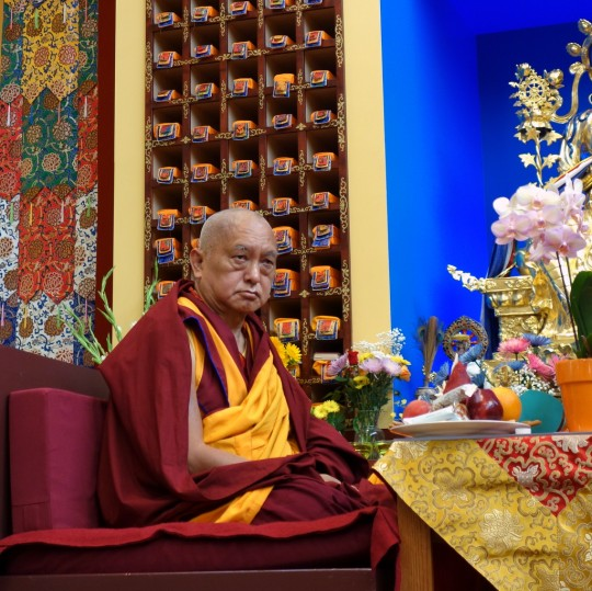 Lama Zopa Rinpoche at long life puja for Geshe Sopa Rinpoche at Deer Park Buddhist Center, Wisconsin, US, July 20, 2014. Photo by Ven. Roger Kunsang.