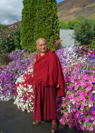 Lama Zopa Rinpoche in Washington state, US, July 2014. Photo by Ven. Roger Kunsang.