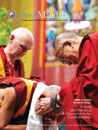 COVER: His Holiness the Dalai Lama offering a khata to Lama Zopa Rinpoche, with Ven. Roger Kunsang looking on, at the conclusion of His Holiness' public teaching at Modigliani Forum, Livorno, Italy, June 15, 2014. Photo by Olivier Adam.