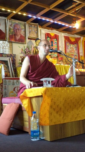 Ven. Tenzin Namdak teaching at Choe Khor Sum Ling, Bangalore, India, April 2013. Photo courtesy of Choe Khor Sum Ling.