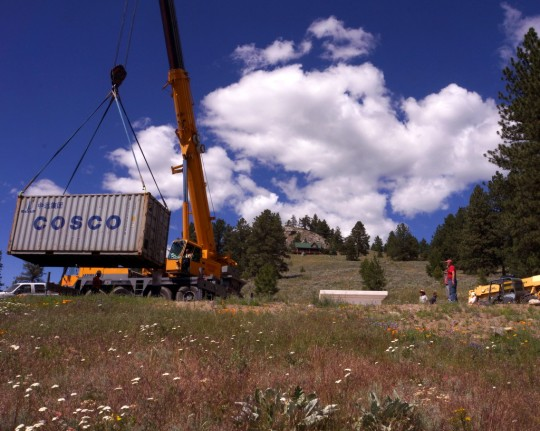 The Amitabha Buddha statue arrived in a shipping container and had to be unloaded with a crane, Buddha Amitabha Pure Land, Washington, US, June 30, 2014. Photo by Merry Colony.