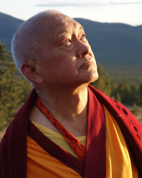 Lama Zopa Rinpoche at Buddha Amitabha Pure Land, Washington, US, April 2014. Photo Ven. Roger Kunsang.