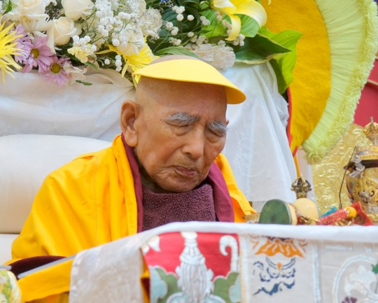 Geshe Sopa Rinpoche during long life puja, Deer Park Buddhist Center, Wisconsin, US, July 20, 2014. Photo by Ven. Roger Kunsang.