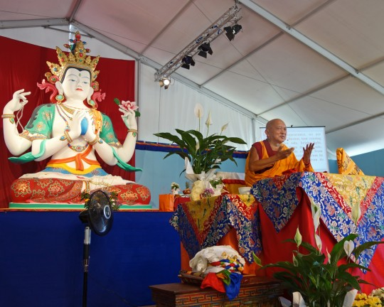 Lama Zopa Rinpoche teaching at Istituto Lama Tzong Khapa, Italy, June 2014. Photo by Ven. Roger Kunsang.