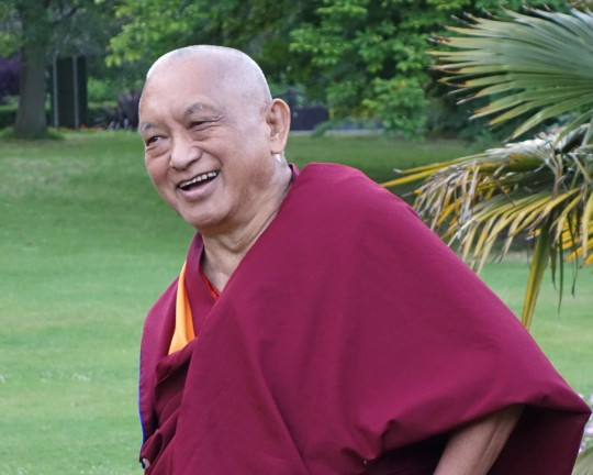Lama Zopa Rinpoche visiting a park in Leeds, UK, July 2014. Photo by Ven. Roger Kunsang.