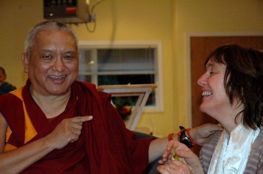 Lama Zopa Rinpoche and Alison Murdoch, October 2007. Photo courtesy of FDCW.