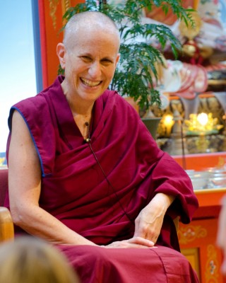 Ven. Thubten Chodron during a talk at Maitripa College, Portland, Oregon, US, March 2013. Photo by Marc Sakamoto.