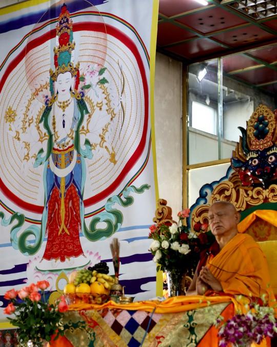 Lama Zopa Rinpoche teaching at the 100 Million Mani retreat, Ulaanbaatar, Mongolia, August 2014. Photo by Ven. Roger Kunsang.