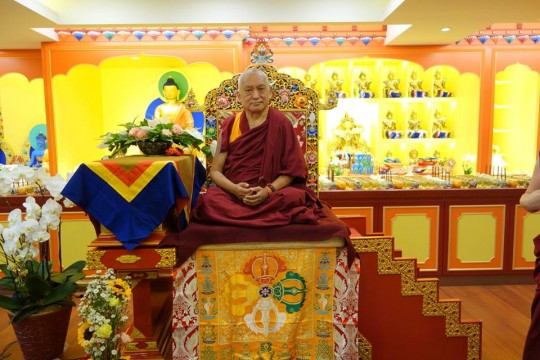 Lama Zopa Rinpoche in the newly renovated gompa of Jinsiu Farlin, Taipei, Taiwan, April 2014. Photo courtesy of FPMT Taiwan.