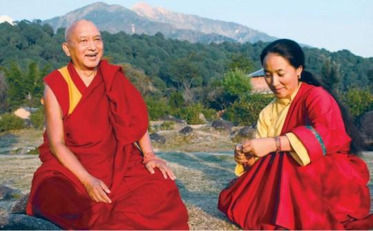 Lama Zopa Rinpoche and Khadro-la, November 2011, India. Photo by Ven. Roger Kunsang.