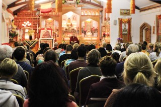 Ven. Robina Courtin teaches to 130 at Langri Tangpa Centre, June 2014. Photo by Kerry Murphy.