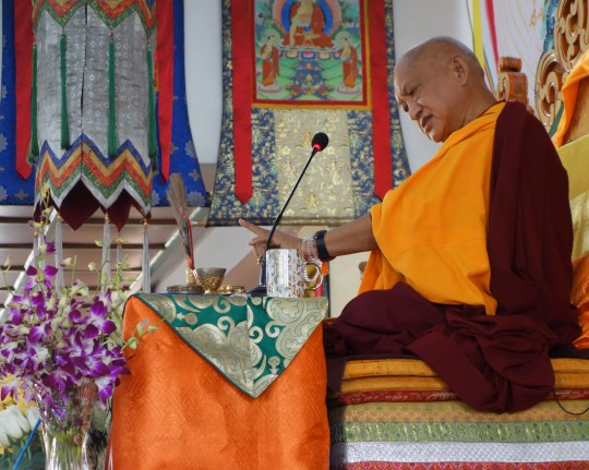 Lama Zopa Rinpoche teaching at the 100 Million Mani Retreat in Mongolia, Ulaanbaatar, Mongolia, August 2014. Photo by Ven. Roger Kunsang.