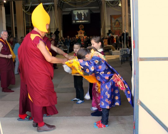 Lama Zopa Rinpoche entering the Great Stupa of Universal Compassion for the long life puja, Australia, September 19, 2014. Photo by Laura Miller