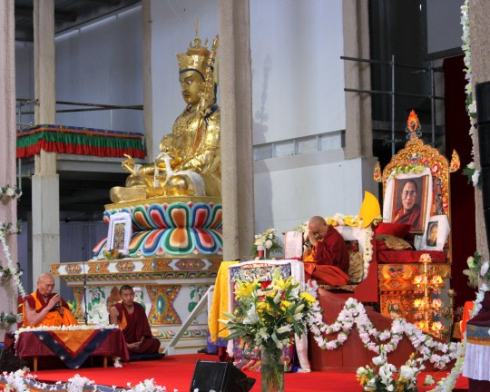 Lama Zopa Rinpoche during long life puja with Geshe Doga, Great Stupa of Universal Compassion, Australia, September 19, 2014. Photo by Laura Miller
