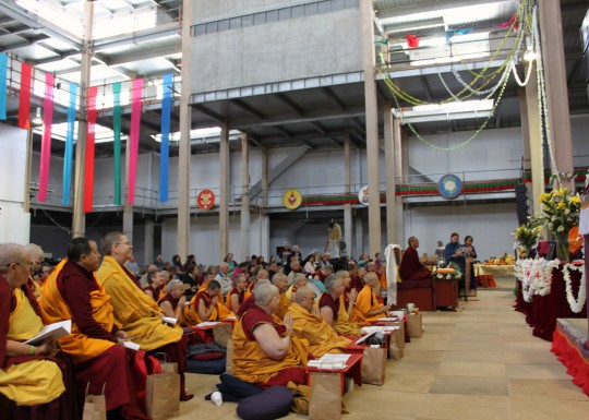 During the reading of the praises for Lama Zopa Rinpoche, Great Stupa of Universal Compassion, Australia, September 19, 2014. Photo by Laura Miller.