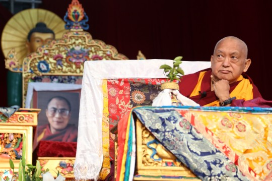 Lama Zopa Rinpoche giving the motivate before the long life initiation during the CPMT 2014 meeting, Great Stupa of Universal Compassion, Australia, September 17, 2014. Photo by Ven. Thubten Kunsang.